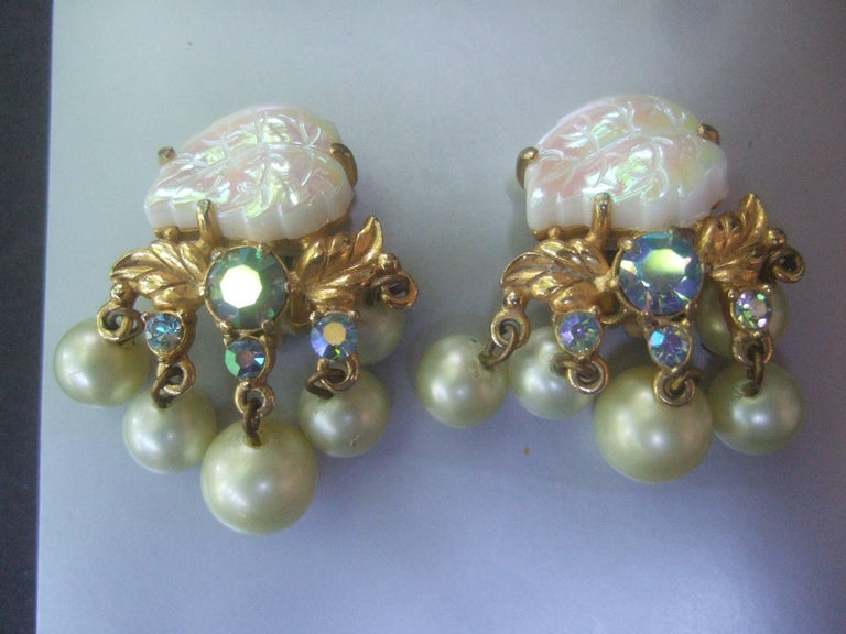 Schiaparelli Dangling Pearl Aurora Borealis Earrings c 1950s For Sale 3