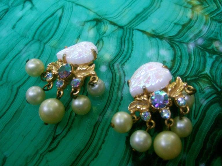Women's Schiaparelli Dangling Pearl Aurora Borealis Earrings c 1950s For Sale