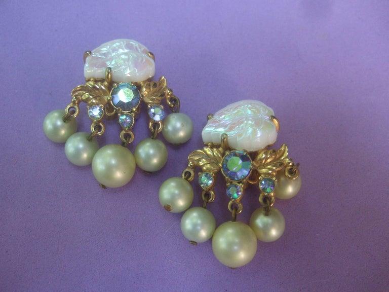 Schiaparelli Dangling Pearl Aurora Borealis Earrings c 1950s In Excellent Condition For Sale In Santa Barbara, CA