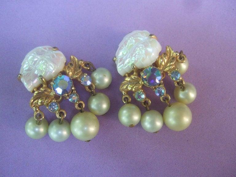 Schiaparelli Dangling Pearl Aurora Borealis Earrings c 1950s For Sale 2