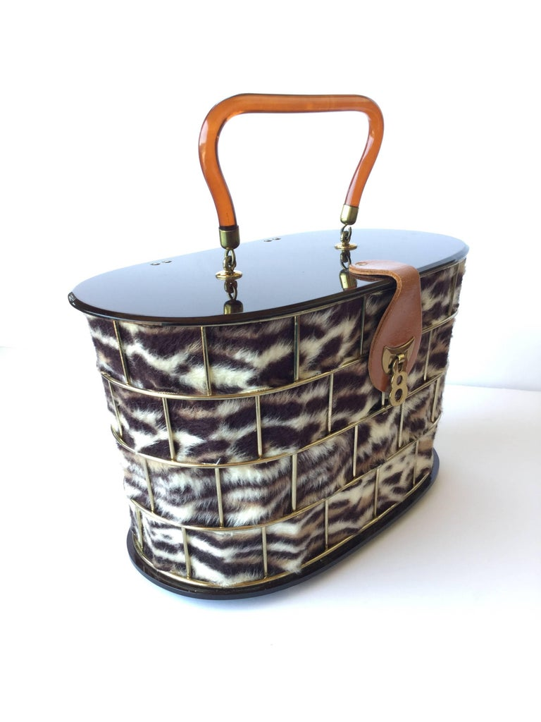 1950's Dorset Rex Cage Bag with Lucite and Faux Leopard. Large Scale. 2