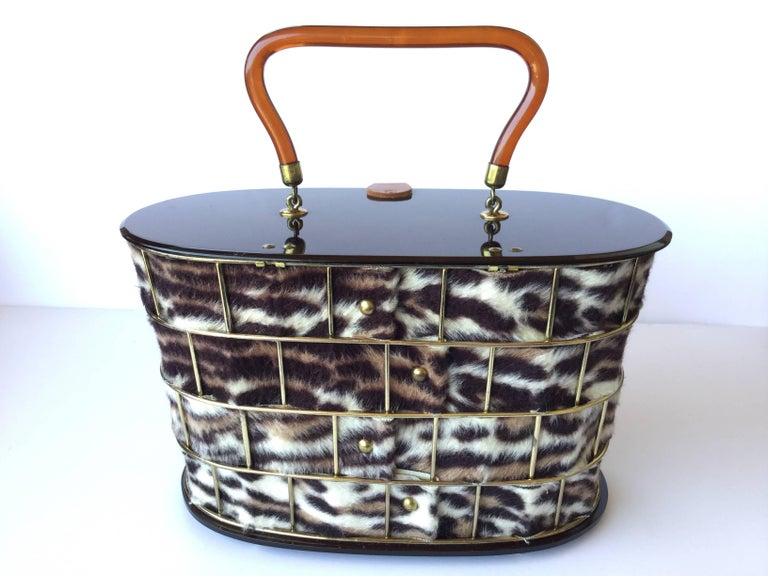 1950's Dorset Rex Cage Bag with Lucite and Faux Leopard. Large Scale. 3