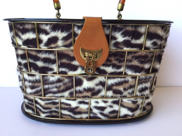 1950's Dorset Rex Cage Bag with Lucite and Faux Leopard. Large Scale. 4