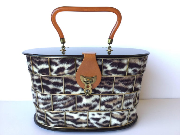 1950's Dorset Rex Cage Bag with Lucite and Faux Leopard. Large Scale. 5