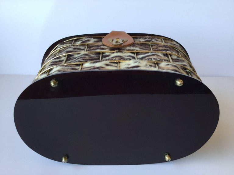 1950's Dorset Rex Cage Bag with Lucite and Faux Leopard. Large Scale. 6
