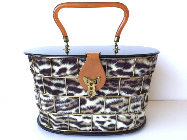 1950's Dorset Rex Cage Bag with Lucite and Faux Leopard. Large Scale. 8