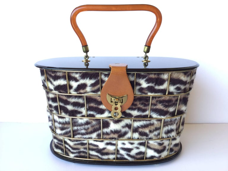 1950's Dorset Rex Cage Bag with Lucite and Faux Leopard. Large Scale. 9