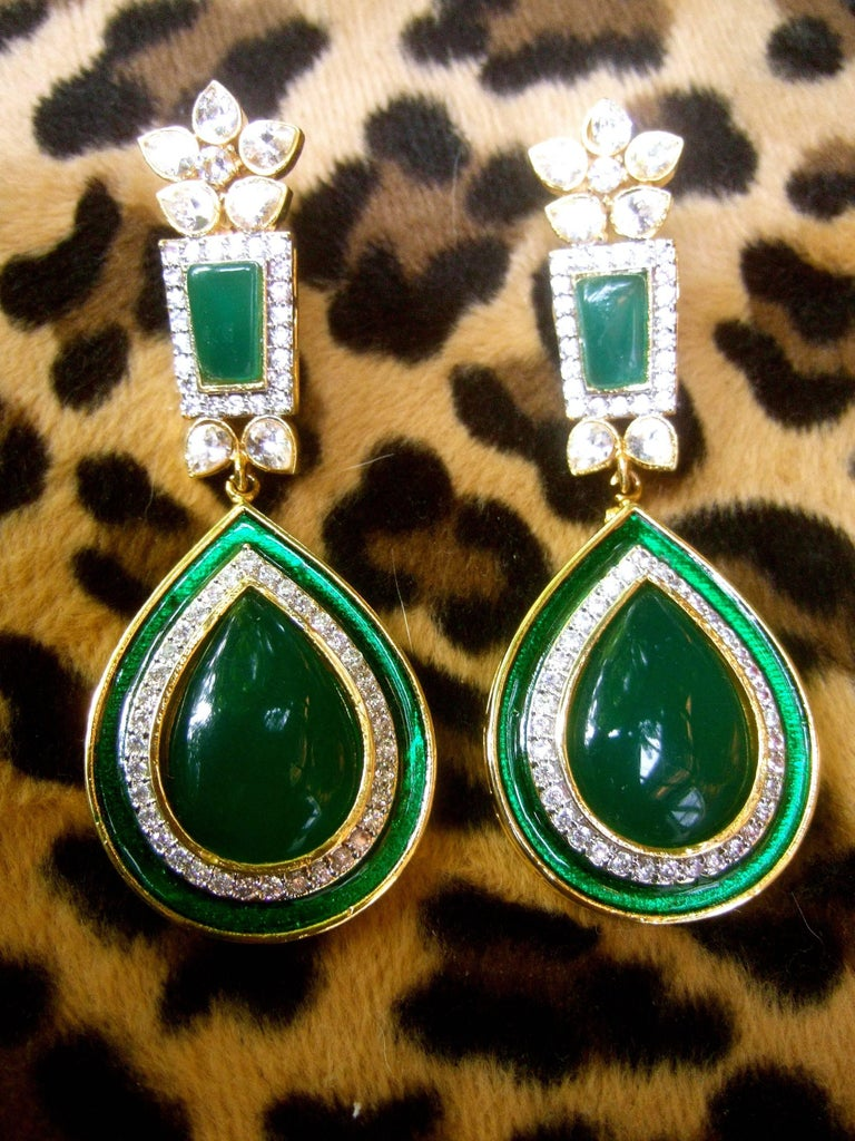 Exquisite Emerald Green Poured Gl Tear Drop Crystal Earrings For 1