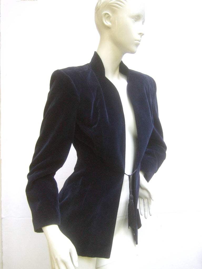 Ossie Clark Midnight Blue Velvet Jacket with Tassels. Early 1970's. 4