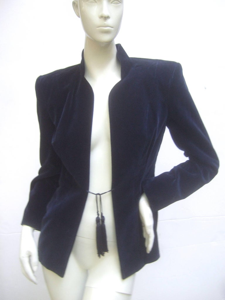 Ossie Clark Midnight Blue Velvet Jacket with Tassels. Early 1970's. 7