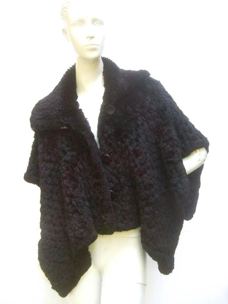 plush italian black sheared rabbit fur caplet shrug for. Black Bedroom Furniture Sets. Home Design Ideas