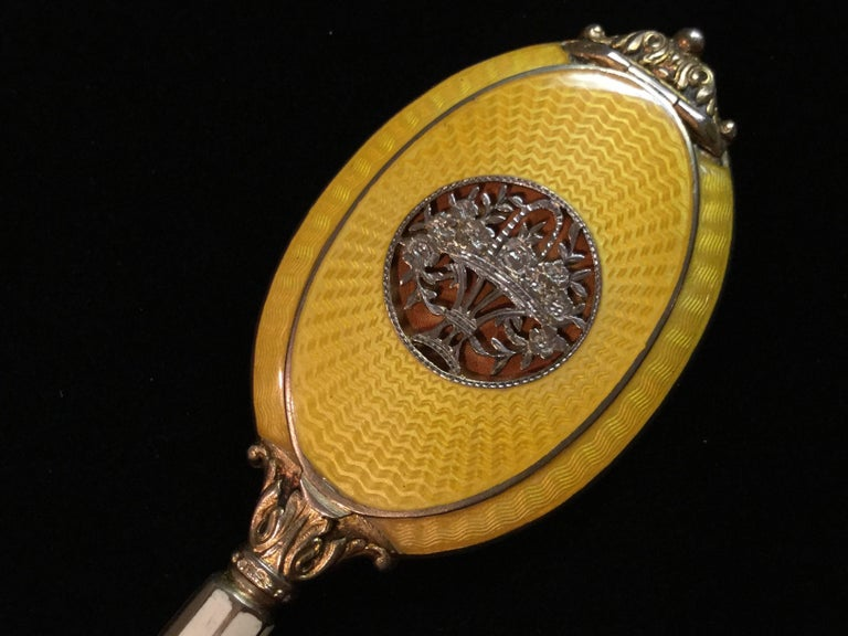 Exquisite Guilloche Enamel Sterling Silver Compact Pendant . Austrian. 1910. 2