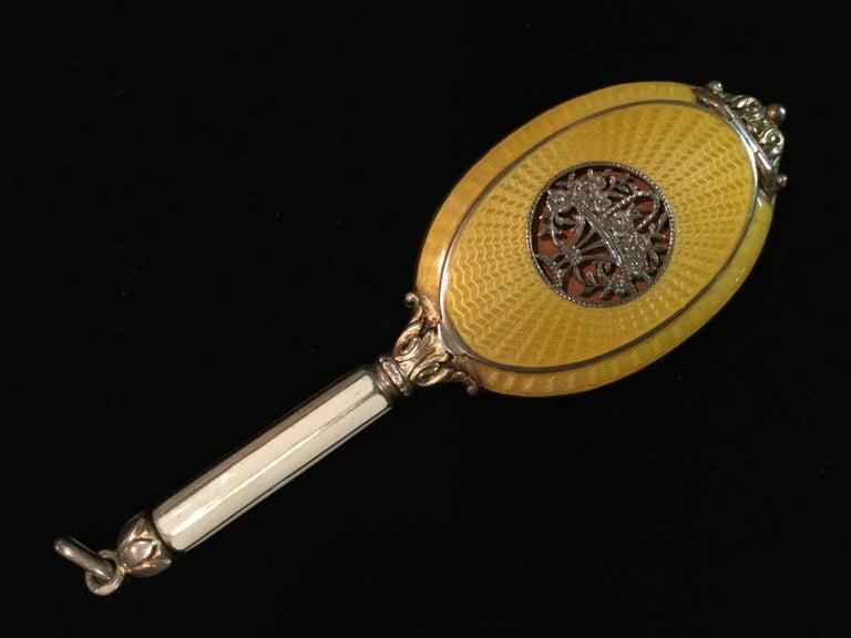 Exquisite Guilloche Enamel Sterling Silver Compact Pendant . Austrian. 1910. 7