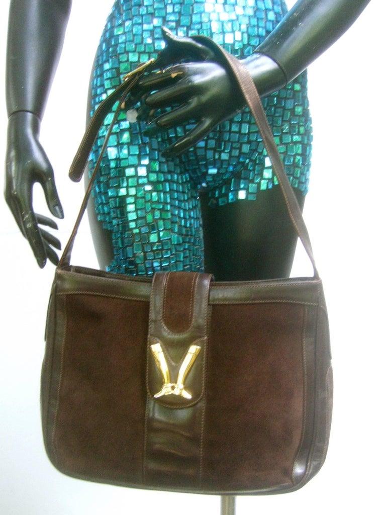 Gucci Rare Chocolate Brown Suede Equestrian Boot Emblem Shoulder Bag C 1970s zd1aI4