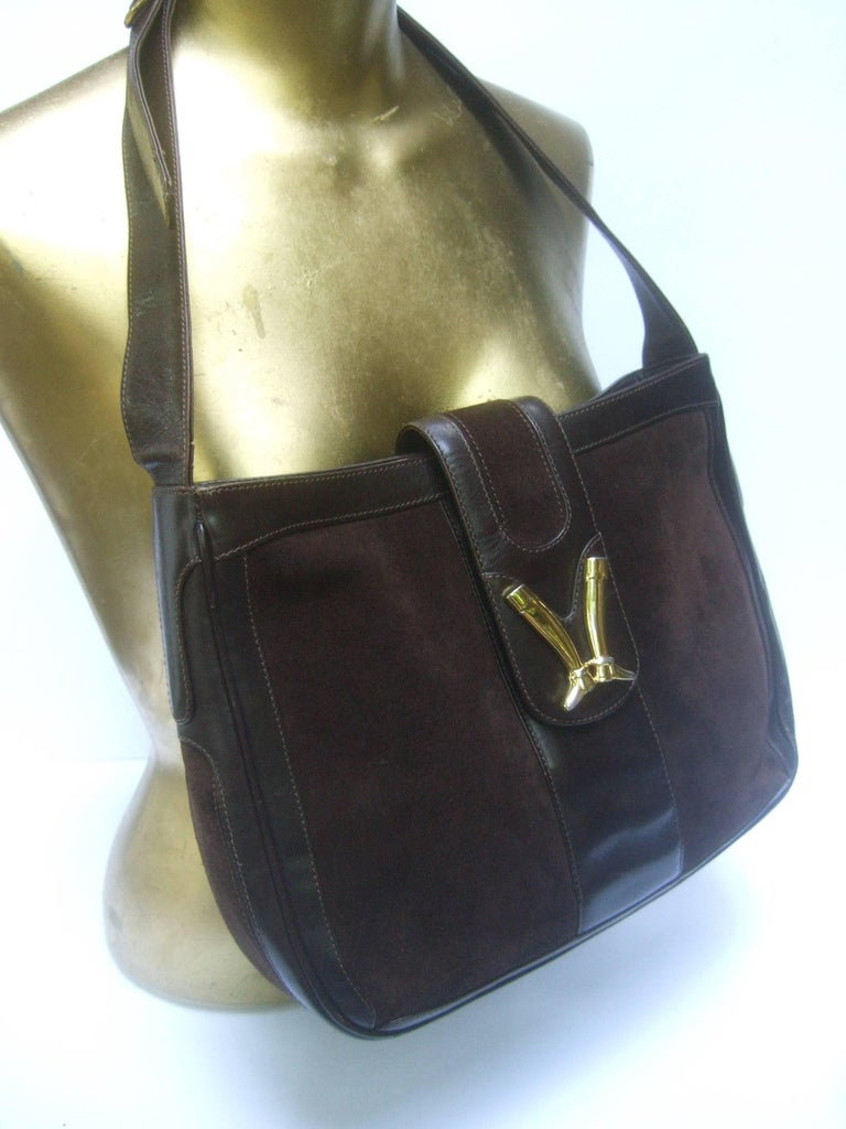 Gucci Rare Chocolate Brown Suede Equestrian Boot Emblem Shoulder Bag C 1970s XjvQE