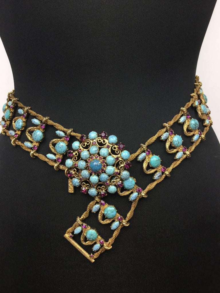 Incredible Yves Saint Laurent Metal Belt with Faux Turquoise Cabochons. 1970's. In Excellent Condition For Sale In Santa Barbara, CA
