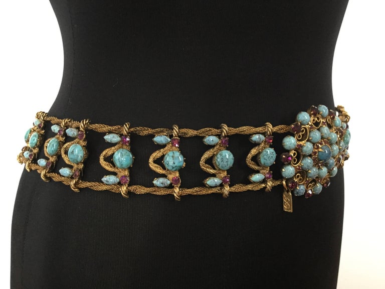 Women's or Men's Incredible Yves Saint Laurent Metal Belt with Faux Turquoise Cabochons. 1970's. For Sale