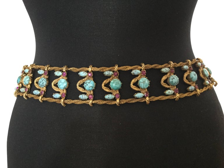 Incredible Yves Saint Laurent Metal Belt with Faux Turquoise Cabochons. 1970's. For Sale 1