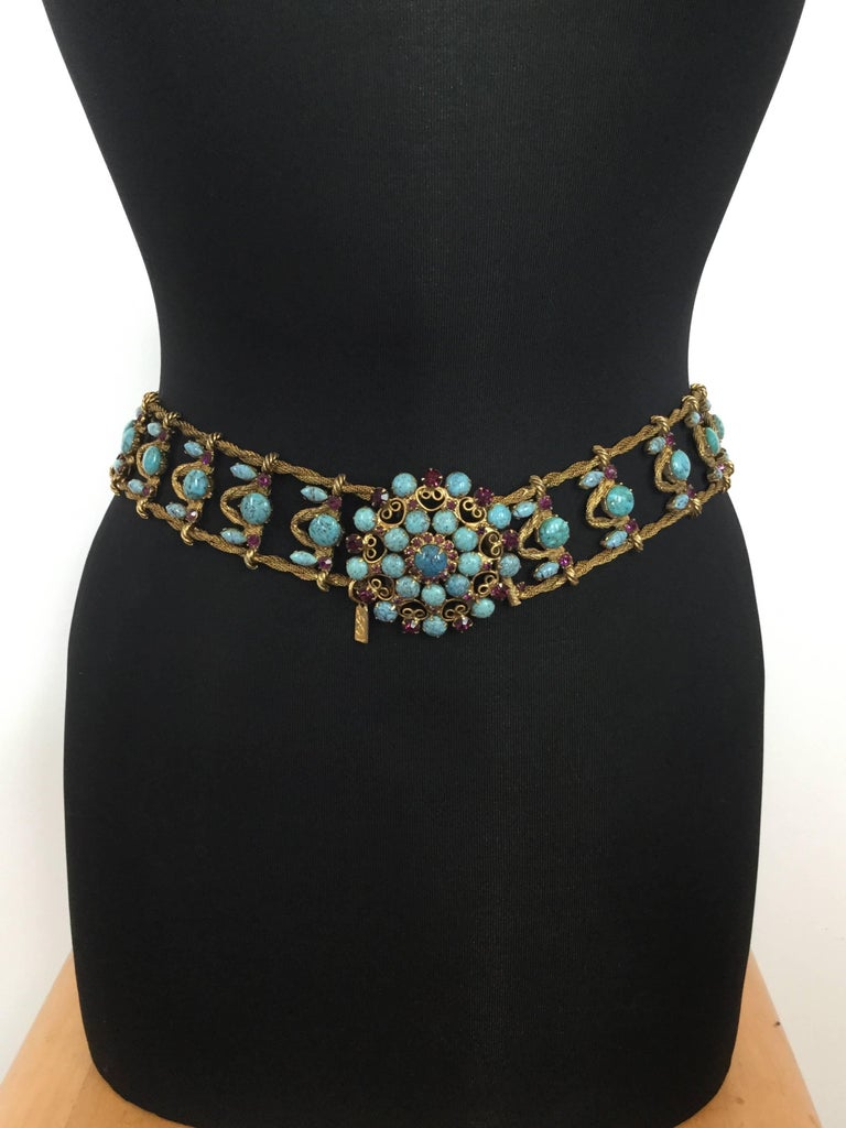 Incredible Yves Saint Laurent Metal Belt with Faux Turquoise Cabochons. 1970's. For Sale 3