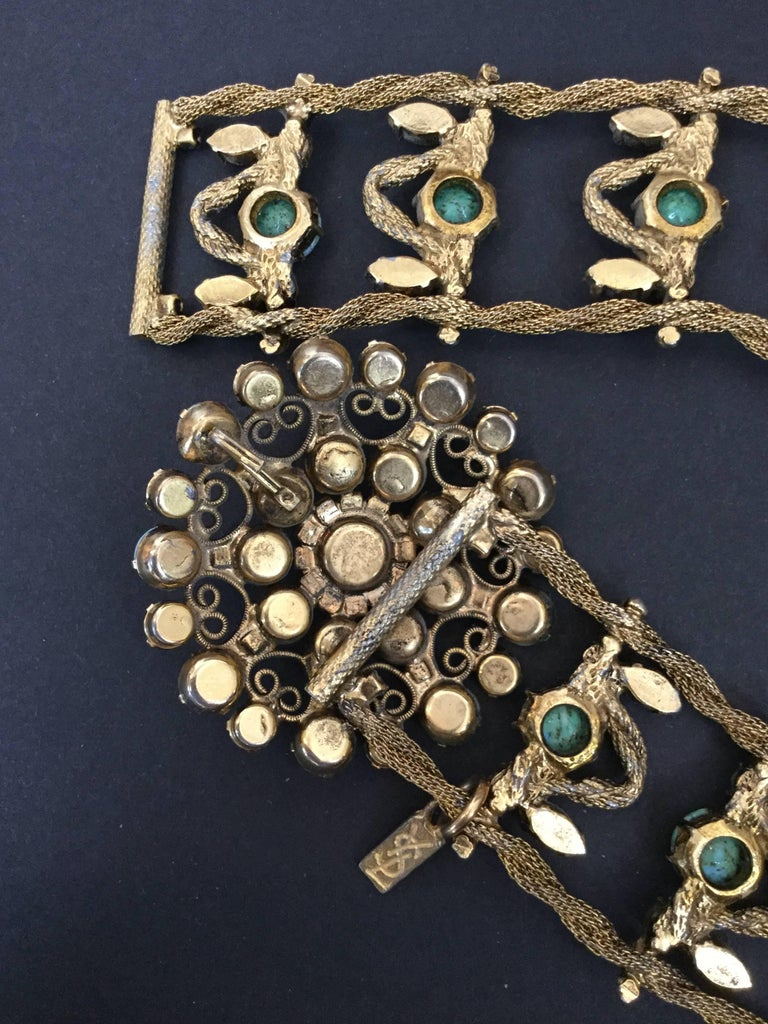 Incredible Yves Saint Laurent Metal Belt with Faux Turquoise Cabochons. 1970's. For Sale 4