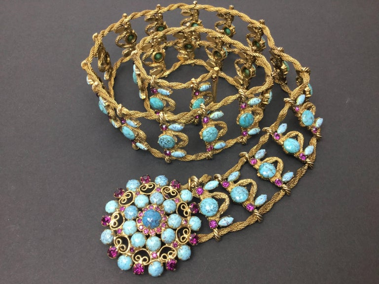 Incredible Yves Saint Laurent Metal Belt with Faux Turquoise Cabochons. 1970's. For Sale 5
