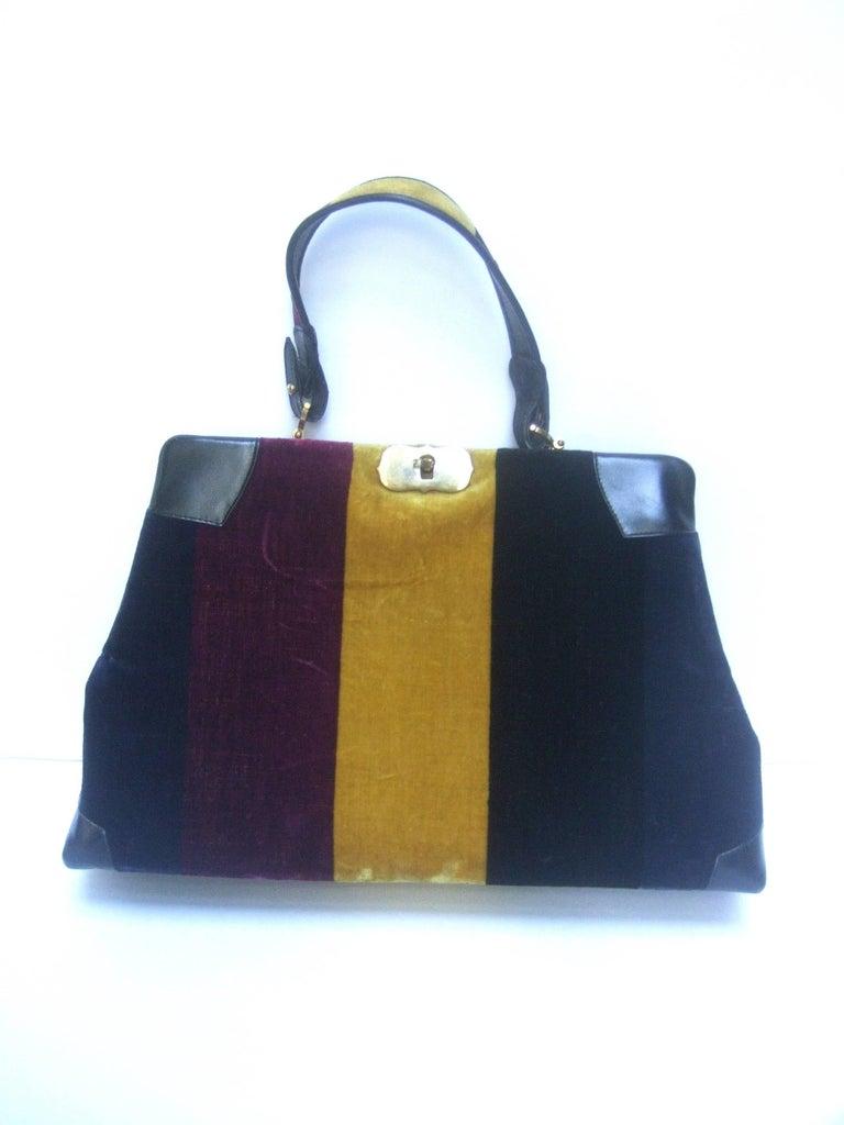 Women's Roberta Di Camerino Italian Chic Velvet Striped Handbag c 1970  For Sale