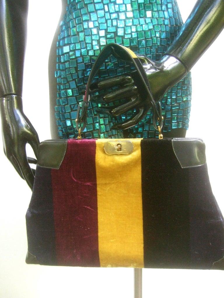 Black Roberta Di Camerino Italian Chic Velvet Striped Handbag c 1970  For Sale