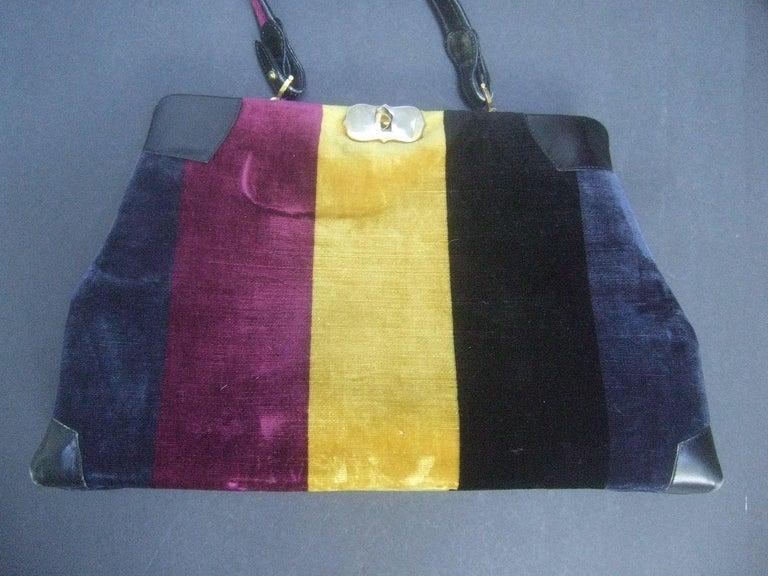 Roberta Di Camerino Italian Chic Velvet Striped Handbag c 1970  In Good Condition For Sale In Santa Barbara, CA