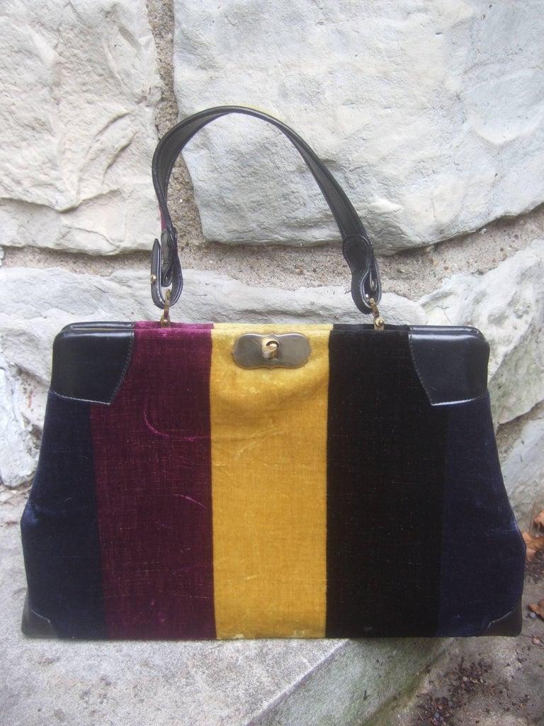 Roberta Di Camerino Italian Chic Velvet Striped Handbag c 1970  For Sale 2