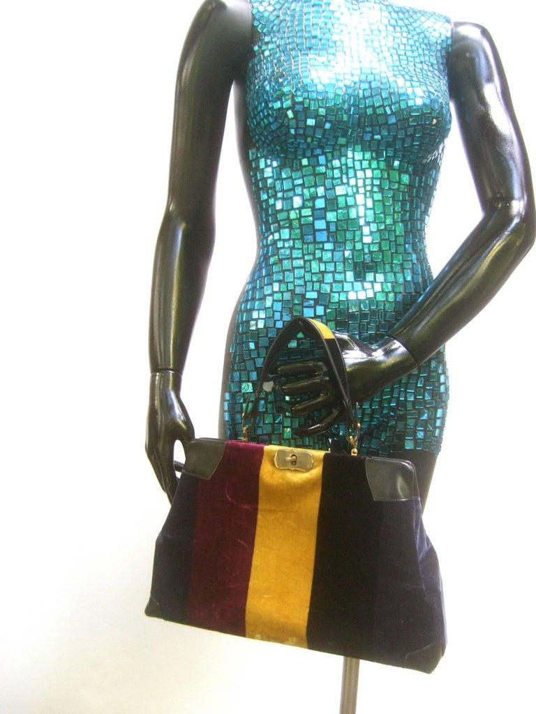 Roberta Di Camerino Italian Chic Velvet Striped Handbag c 1970  For Sale 1