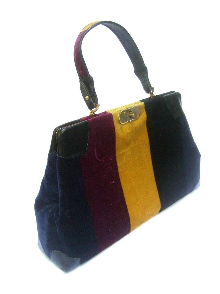 Roberta Di Camerino Italian Chic Velvet Striped Handbag c 1970  For Sale 3
