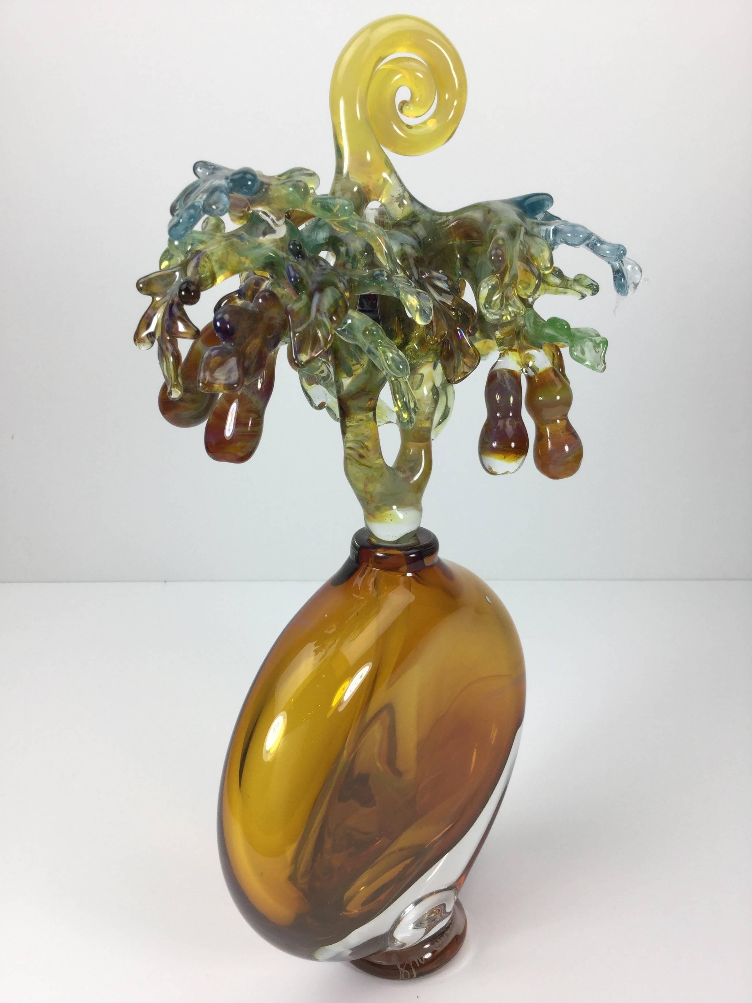 a74113fc Chihuly Style Huge Hand Blown Art Glass Perfume Bottle by Jean Amann.  1990's. For Sale at 1stdibs