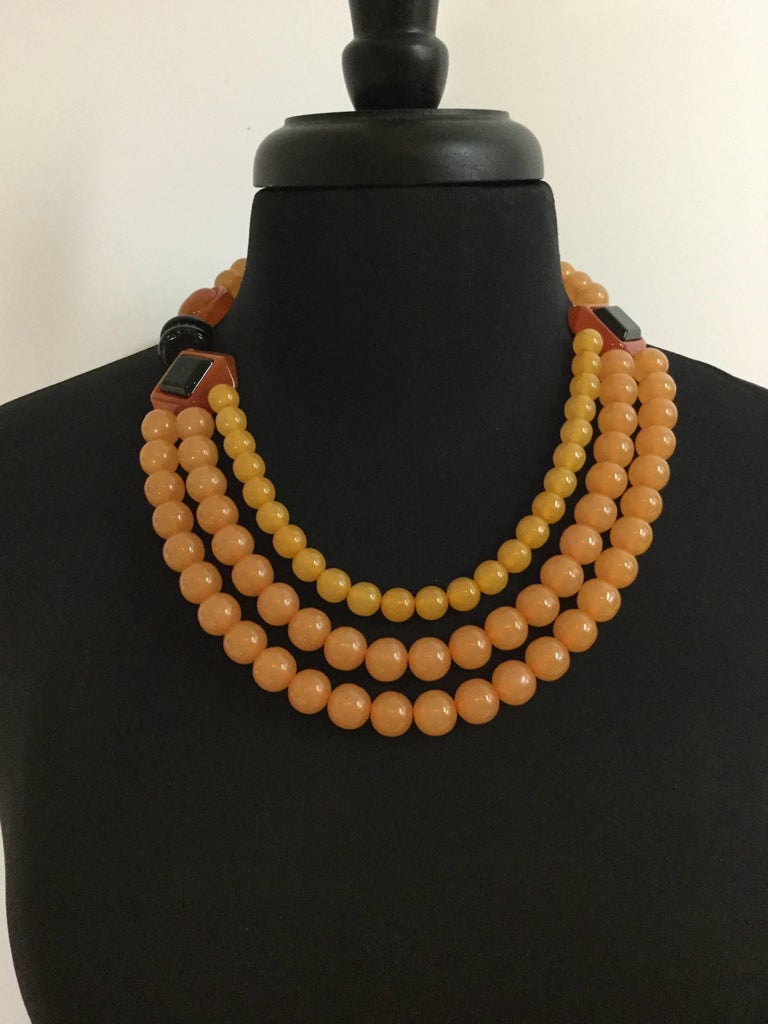 Rare Ugo Correanni Amber Toned Lucite Necklace Deco Style