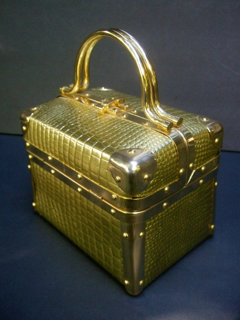 Brown Borsa Bella Italy Gold Metallic Embossed Box Purse c 1980s For Sale
