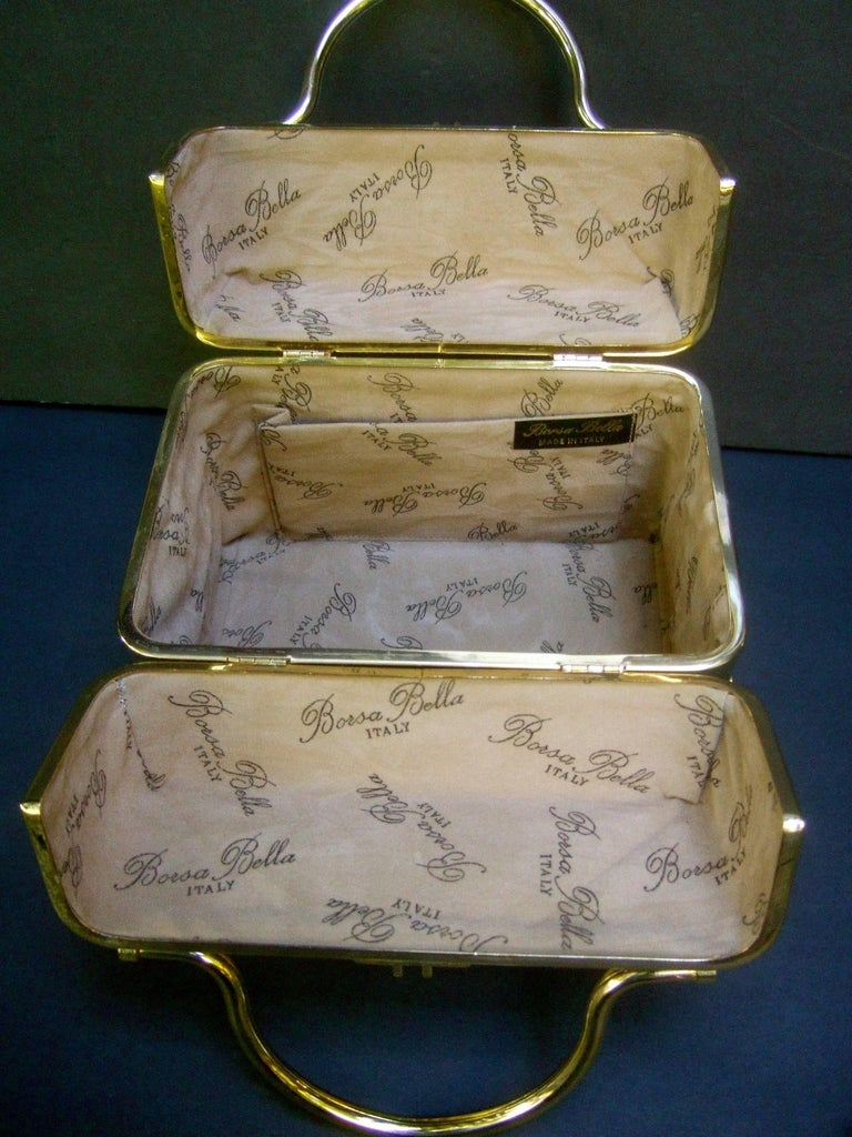 Borsa Bella Italy Gold Metallic Embossed Box Purse c 1980s For Sale 5