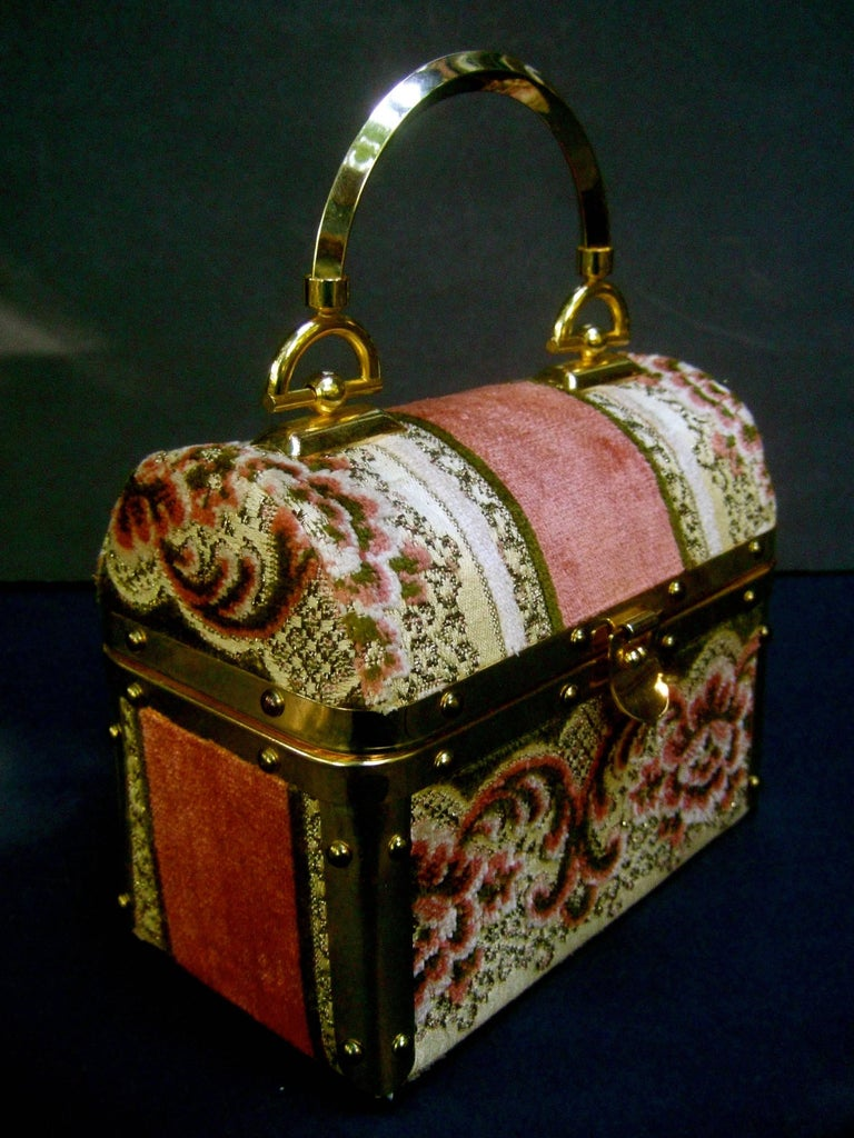 Borsa Bella Italian Brocade Box Purse c 1970s  3