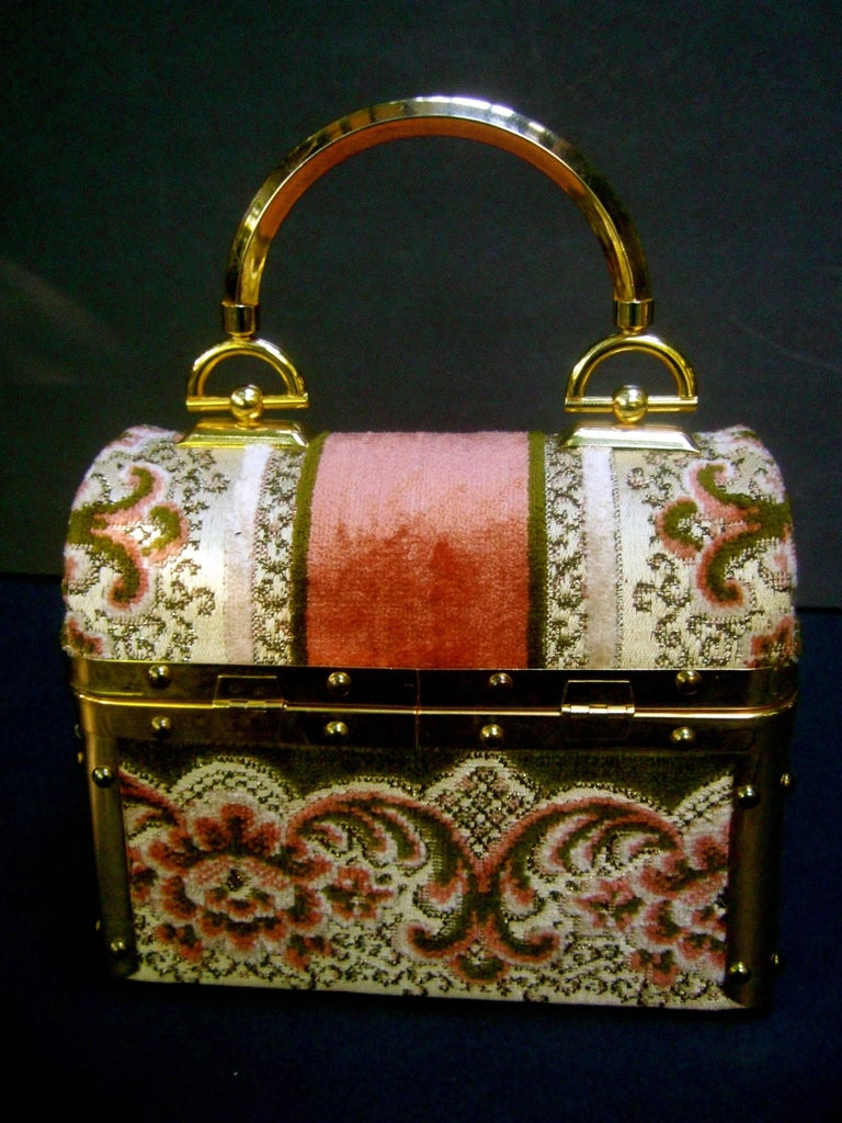 Borsa Bella Italian Brocade Box Purse c 1970s  4