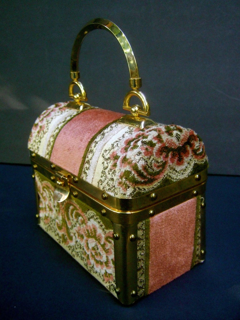 Borsa Bella Italian Brocade Box Purse c 1970s  5