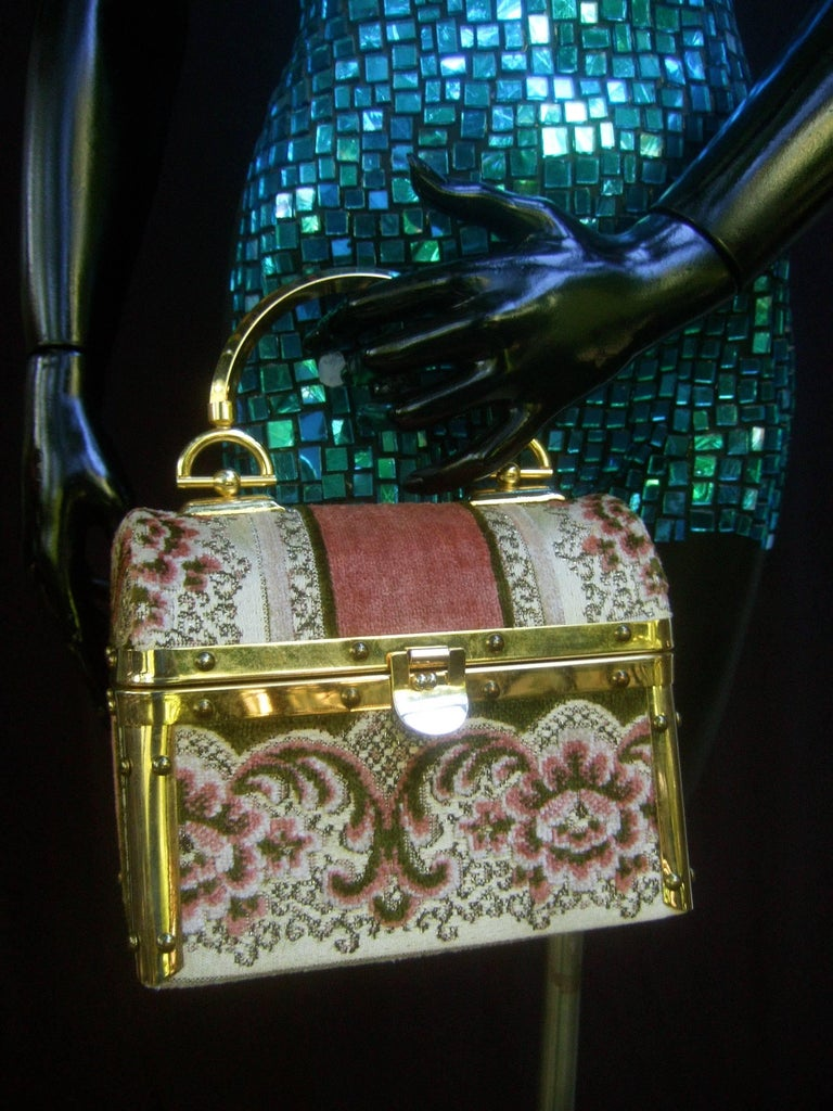 Borsa Bella Italian Brocade Box Purse c 1970s  8