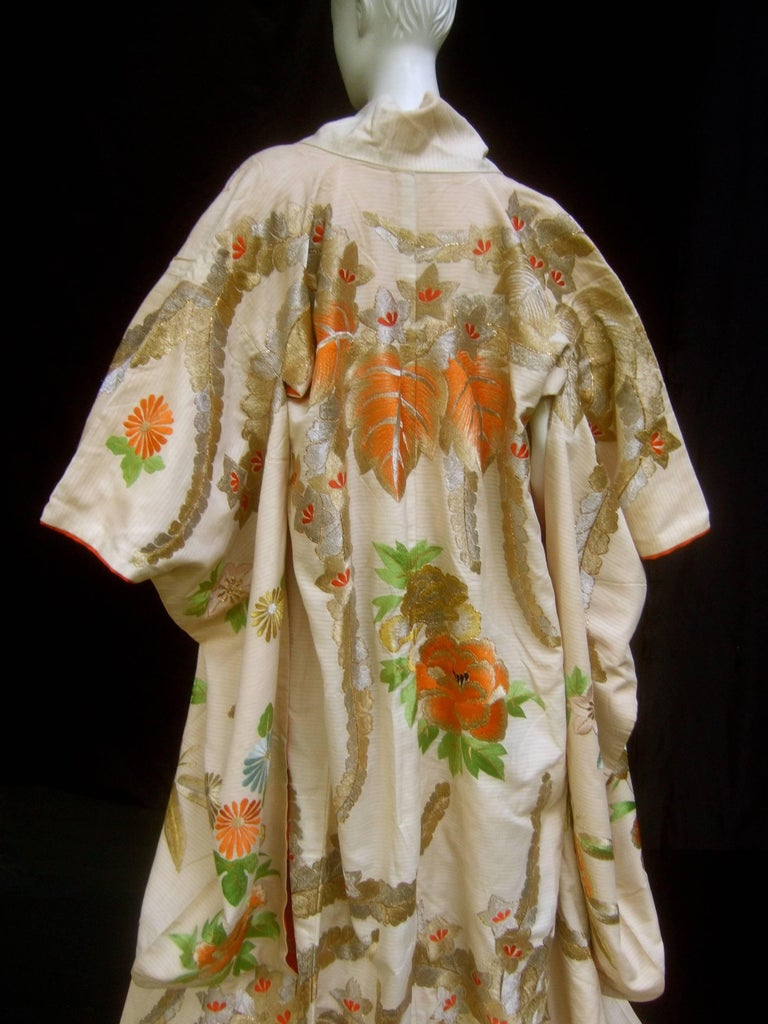 Beige Spectacular Floral Hand Embroidered Japanese Kimono c 1970  For Sale