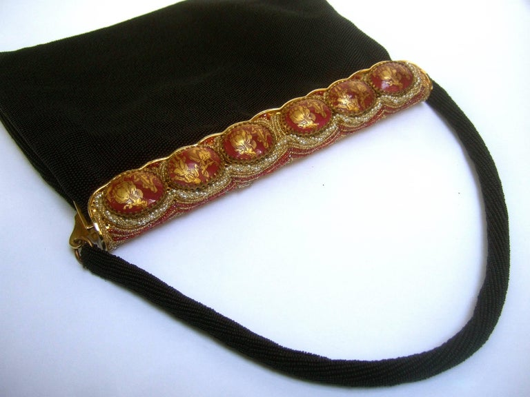 1stdibs Opulent French Ebony Glass Beaded Evening Bag C 1960s