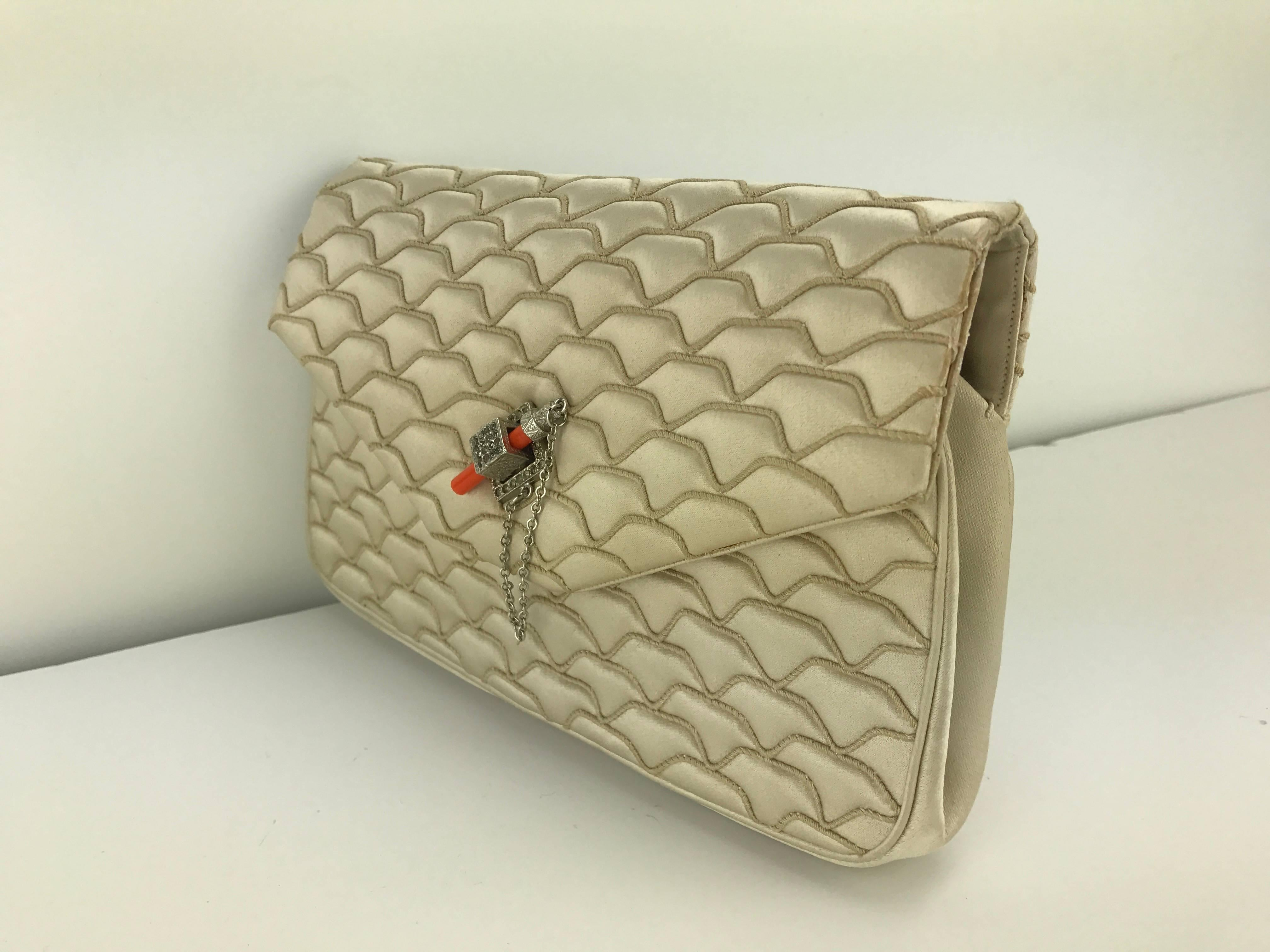 Judith Leiber Quilted Champagne Silk Bag With Faux Coral Clasp, 1980s