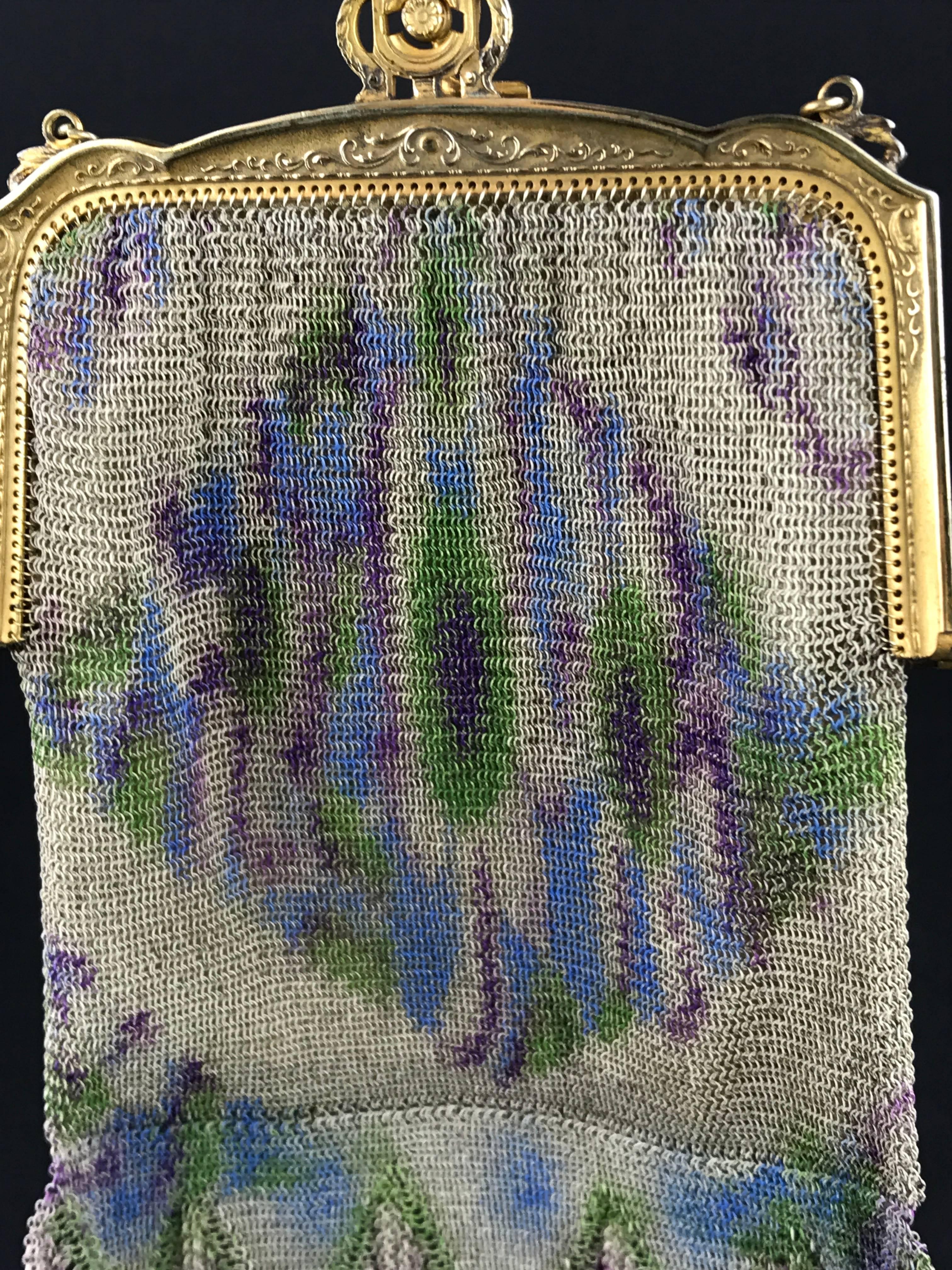 1stdibs Dresden Mesh Metal Impressionistic Monet Style Color Palette Fringed Bag, 1910