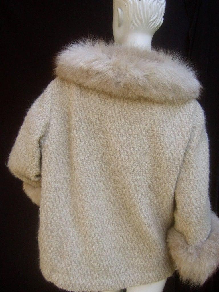 Neiman Marcus Fox Trim Ivory Boucle Wool Knit Jacket C