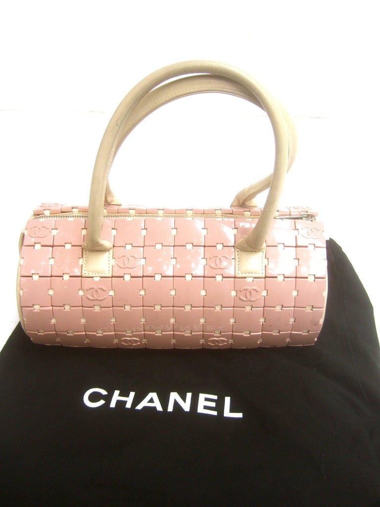 Chanel Rare Mauve Pink Lucite Tile Leather Cylinder
