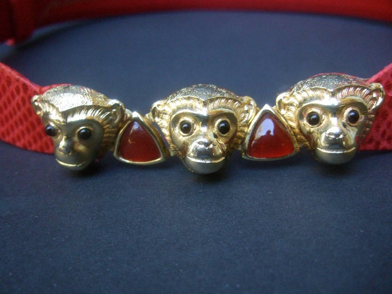 Judith Leiber Charming Monkey Buckle Red Leather Belt c 1980s In Excellent Condition For Sale In Santa Barbara, CA