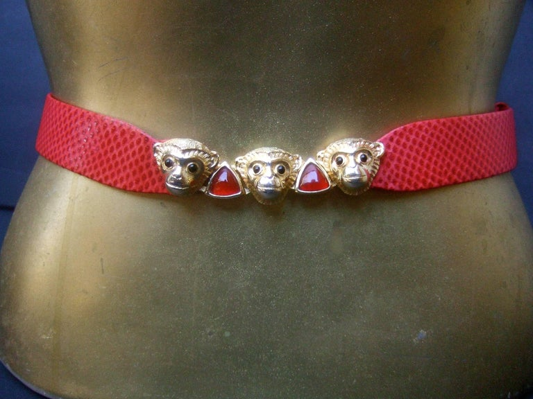 Women's Judith Leiber Charming Monkey Buckle Red Leather Belt c 1980s For Sale