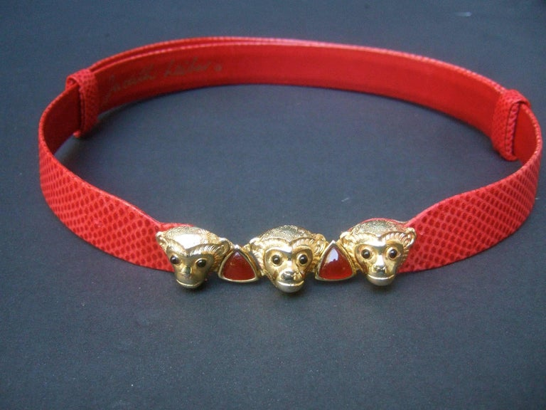 Judith Leiber Charming Monkey Buckle Red Leather Belt c 1980s For Sale 3