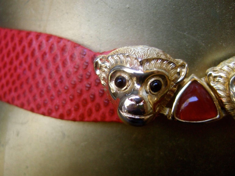 Judith Leiber Charming Monkey Buckle Red Leather Belt c 1980s For Sale 1