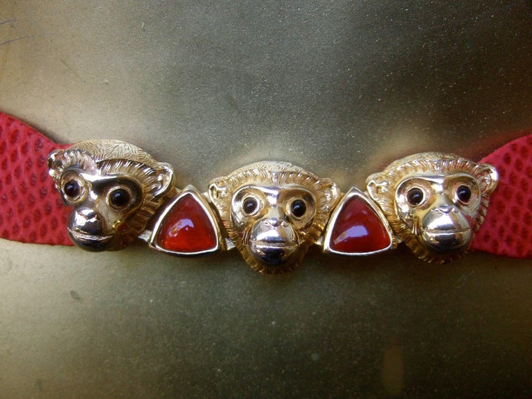 Judith Leiber Charming Monkey Buckle Red Leather Belt c 1980s For Sale 2